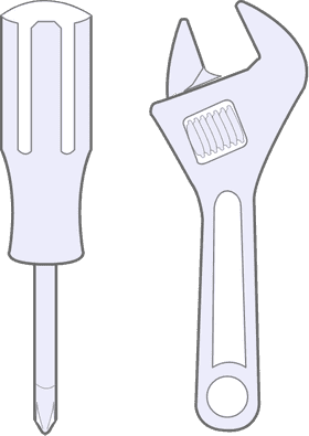 An illustration of a screwdriver and monkey wrench