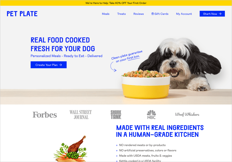 A screenshot of the Pet Plate website in 2020