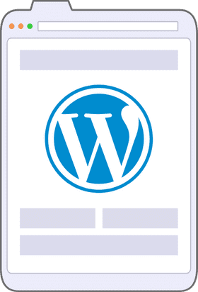 An illustration of a browser window displaying the WordPress logo